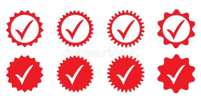 Ícone aprovado vermelho Verifica??o do perfil Aceite o crach? ilustração do vetor