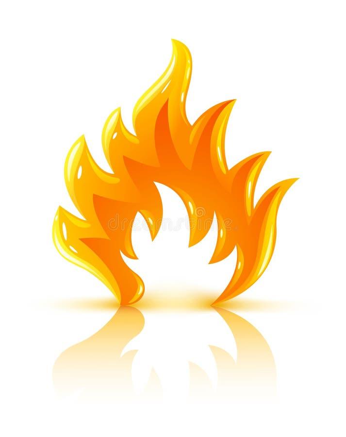 Ícone ardente lustroso da flama do incêndio ilustração royalty free