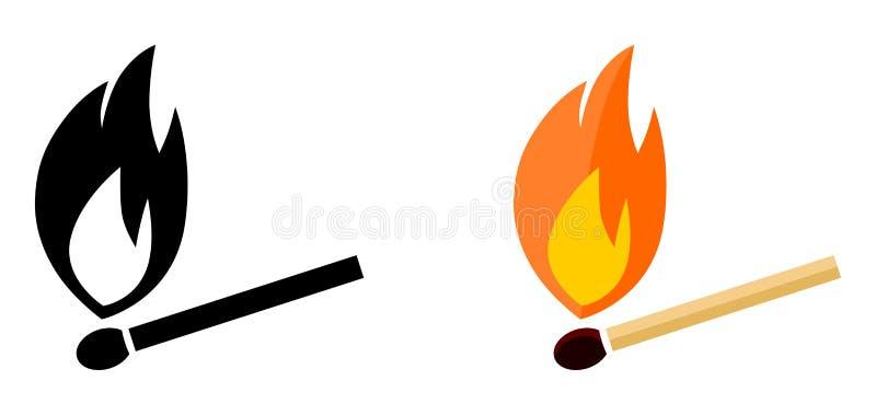 Ícone ardente simples do fósforo Preto e branco, versão da cor ilustração stock