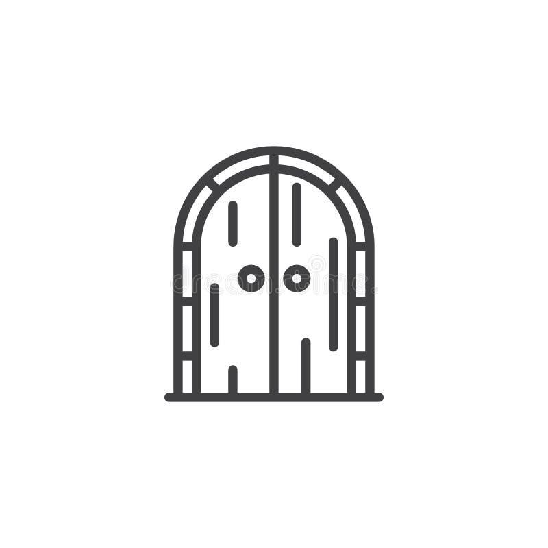 Ícone arqueado velho do esboço da porta ilustração stock