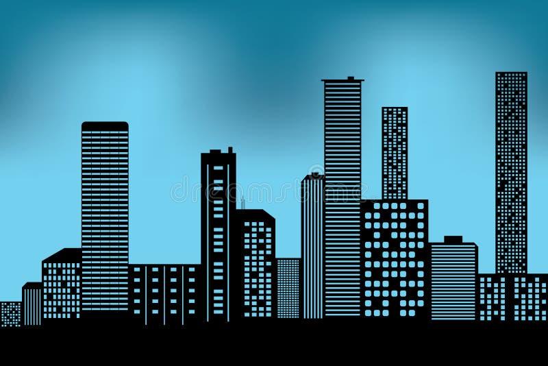 Ícone arquitetónico preto da construção da arquitetura da cidade projete o estilo liso da silhueta no vetor azul da ilustração do ilustração do vetor