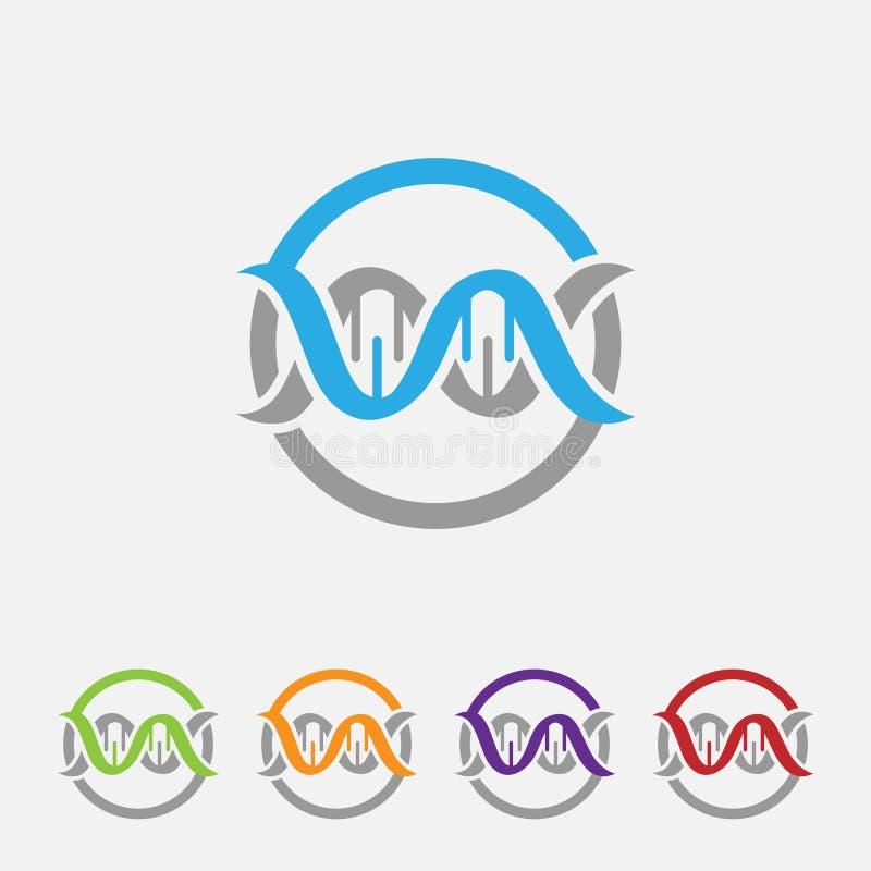 Ícone arredondado ADN O estilo é um símbolo cinzento liso do ADN dentro da luz - azul ilustração royalty free