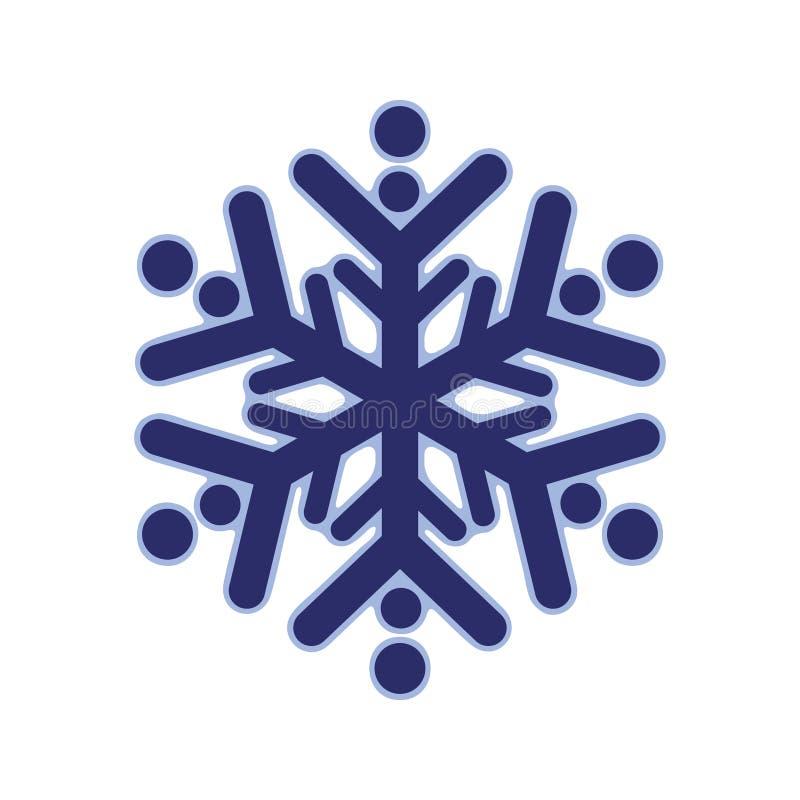 Ícone arredondado azul do molde da silhueta do floco de neve Composição na moda das formas Ilustração do vetor do ícone Eps10 do  ilustração stock