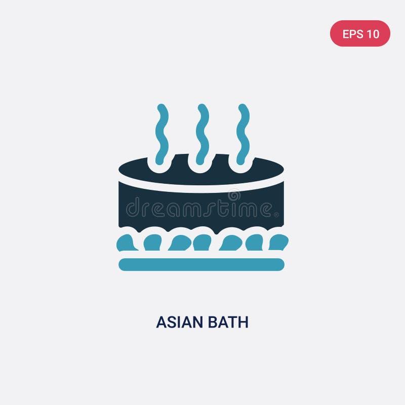 Ícone asiático de duas cores do vetor do banho do conceito da sauna o símbolo asiático azul isolado do sinal do vetor do banho po ilustração do vetor