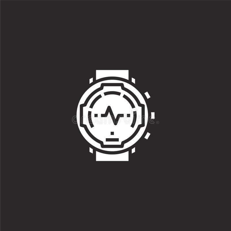 ícone assistir Ícone de relógio preenchido para design de site e desenvolvimento de aplicativos móveis ícone de observação de col ilustração stock