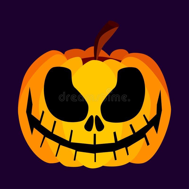 Ícone assustador festivo alaranjado isolado da abóbora de Dia das Bruxas do amarelo do vetor ilustração do vetor