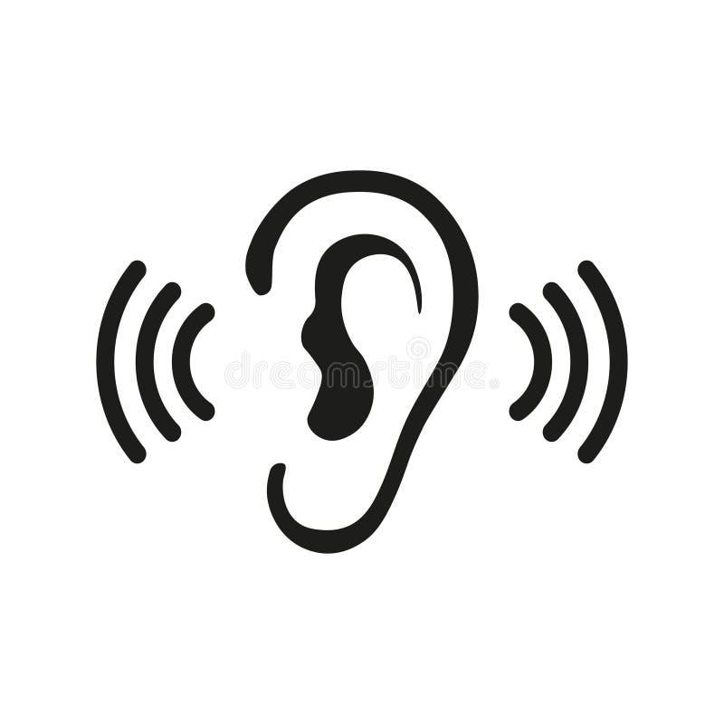 Ícone audio de escuta do vetor de ondas sadias da audição da orelha ilustração stock