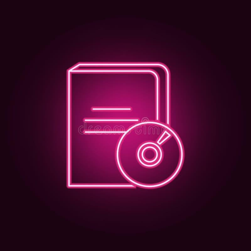 Ícone audio do livro Elementos dos livros e dos compartimentos nos ícones de néon do estilo Ícone simples para Web site, design w ilustração stock