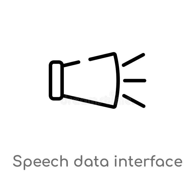 ícone audio do vetor da relação dos dados do discurso do esboço linha simples preta isolada ilustração do elemento do conceito da ilustração do vetor