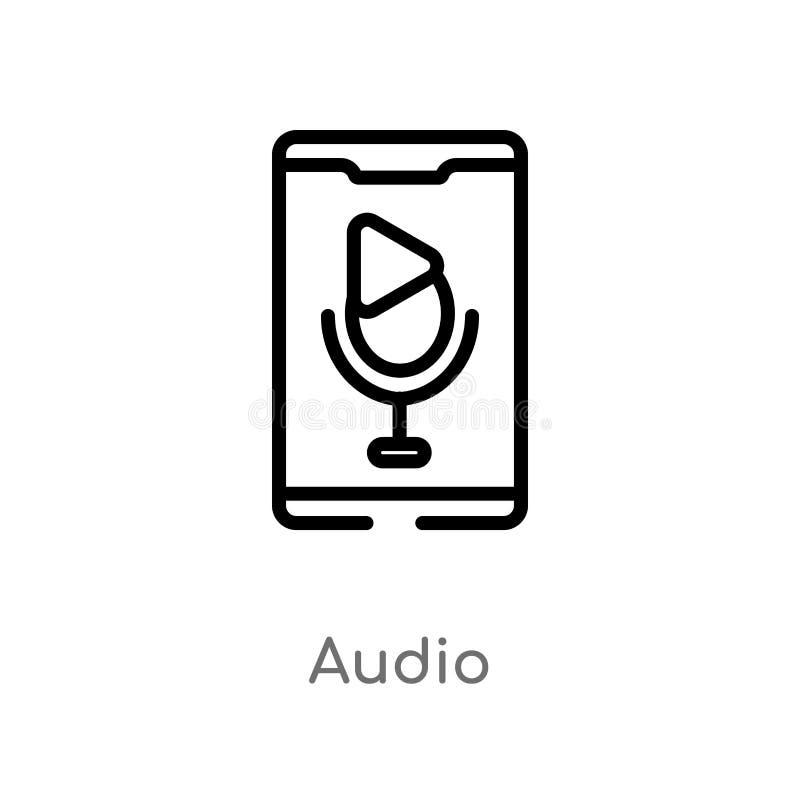 ?cone audio do vetor do esbo?o linha simples preta isolada ilustra??o do elemento do conceito m?vel do app ?udio edit?vel do curs ilustração do vetor