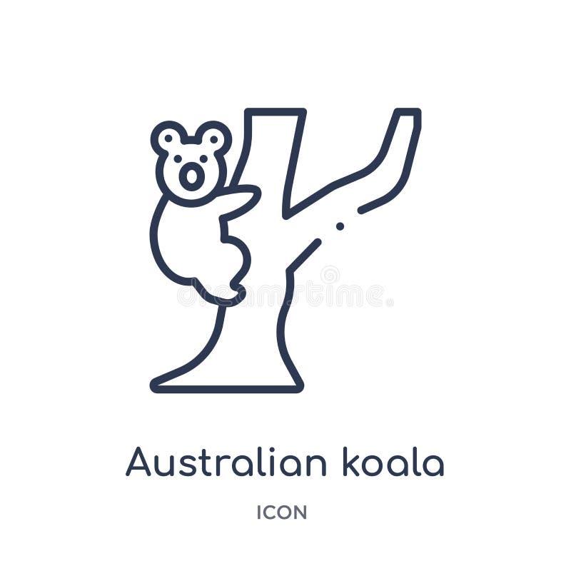 Ícone australiano linear da coala da coleção do esboço da cultura Linha fina vetor australiano da coala isolado no fundo branco ilustração do vetor