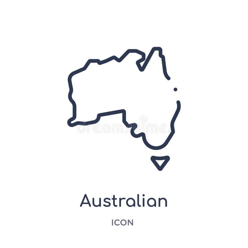 Ícone australiano linear do continente da coleção do esboço da cultura Linha fina vetor australiano do continente isolado no bran ilustração do vetor