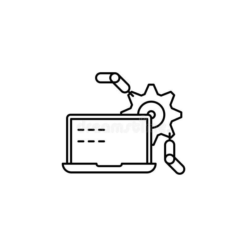 Ícone automatizado do esboço do vetor da produção isolado no fundo Ícone automatizado tirado mão da produção computarizado ilustração stock