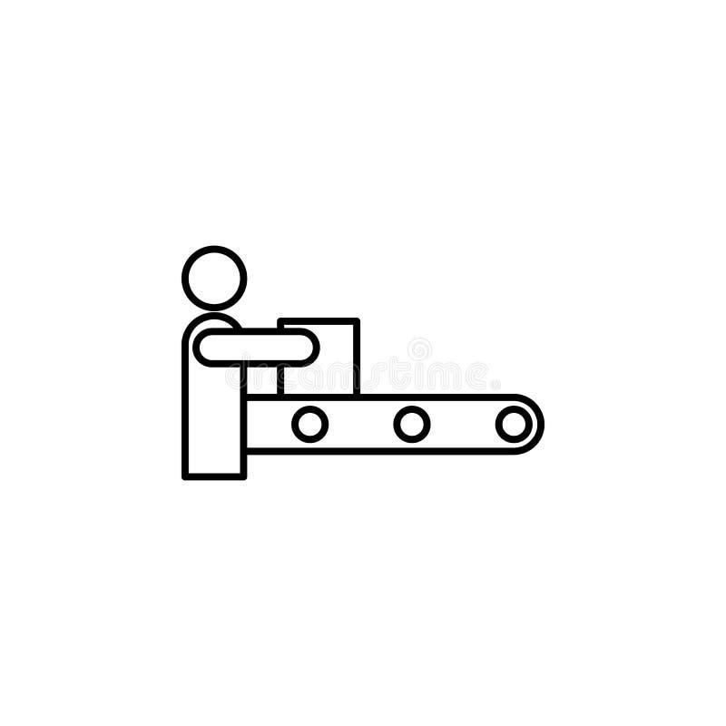 Ícone automatizado do esboço do vetor da produção isolado no fundo Ícone automatizado tirado mão da produção computarizado ilustração royalty free
