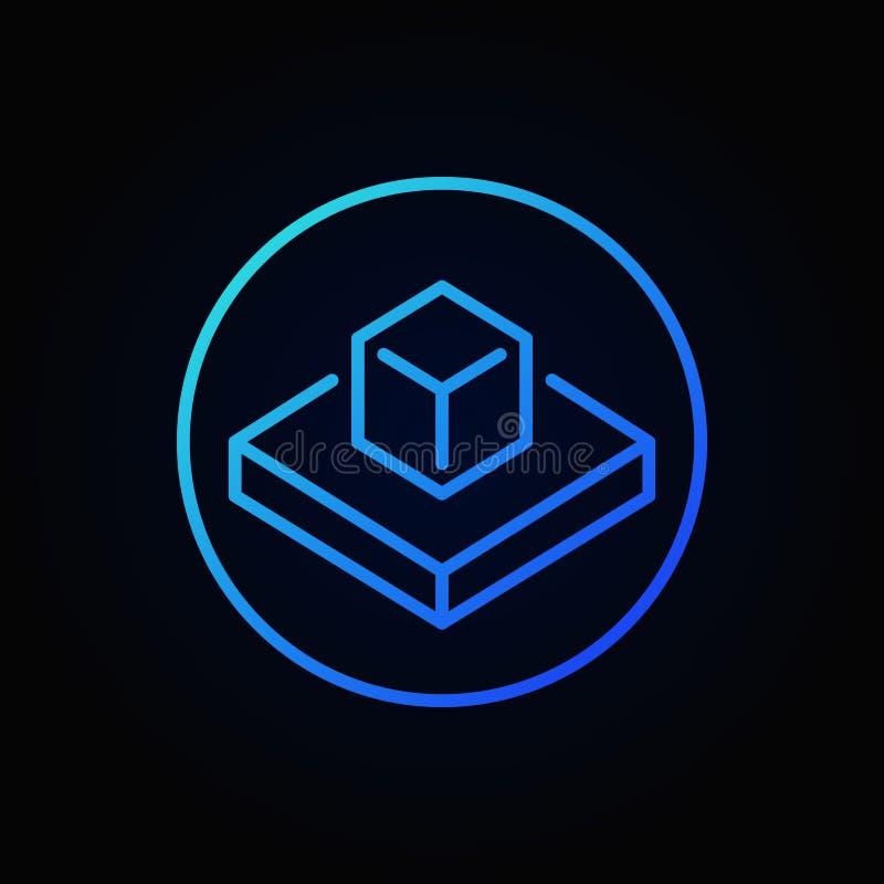 Ícone azul aumentado do esboço da realidade Símbolo da AR do vetor ilustração royalty free
