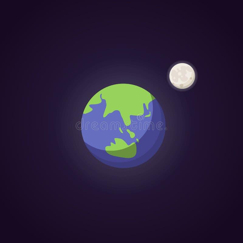 Ícone azul bonito do planeta da terra Espaço do ilustration dos desenhos animados do vetor ilustração stock