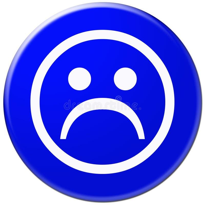 Ícone Azul Com Símbolo Da Face Triste Imagem de Stock Royalty Free