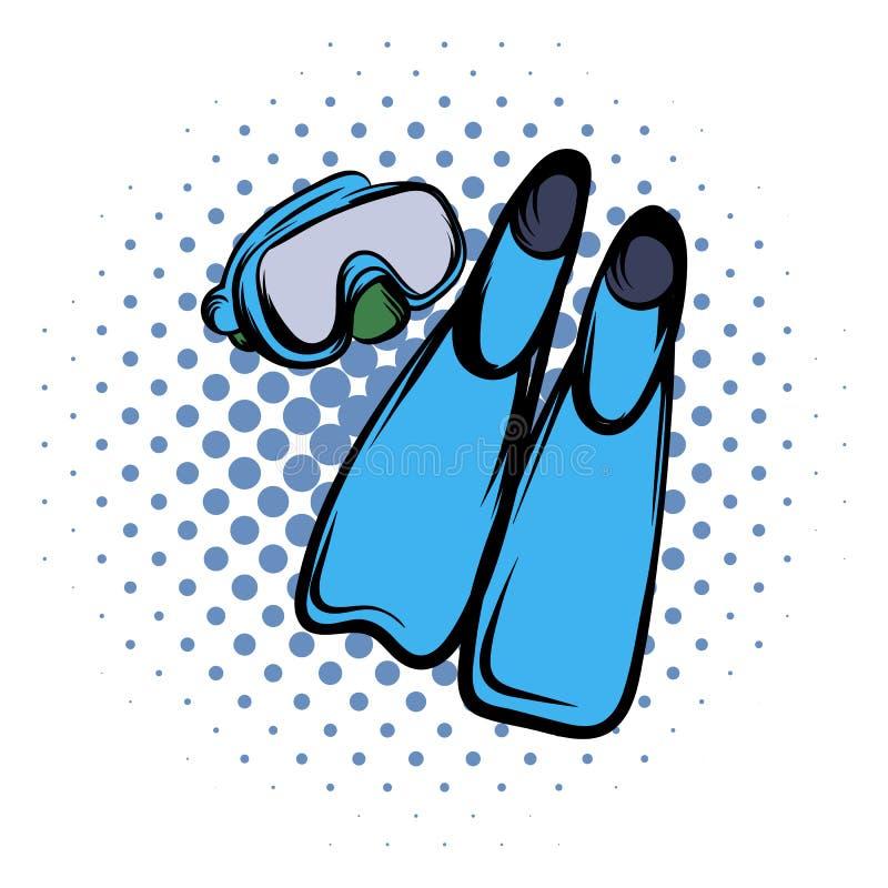 Ícone azul da banda desenhada das aletas ilustração royalty free