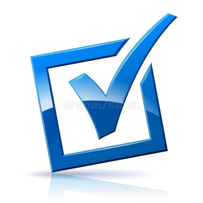 Ícone azul da caixa de verificação ilustração royalty free
