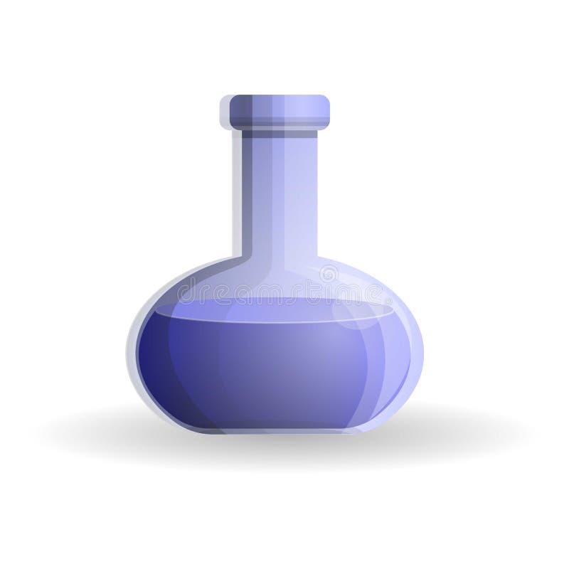 Ícone azul da garrafa, estilo dos desenhos animados ilustração stock