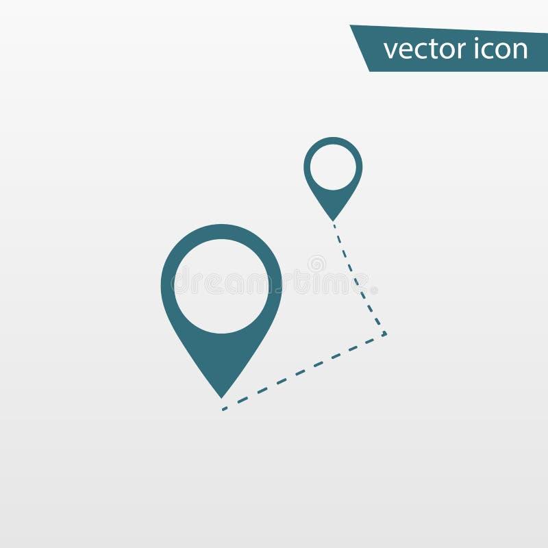 Ícone azul da rota isolado no fundo Pictograma liso moderno, negócio, mercado, conceito do Internet ilustração stock