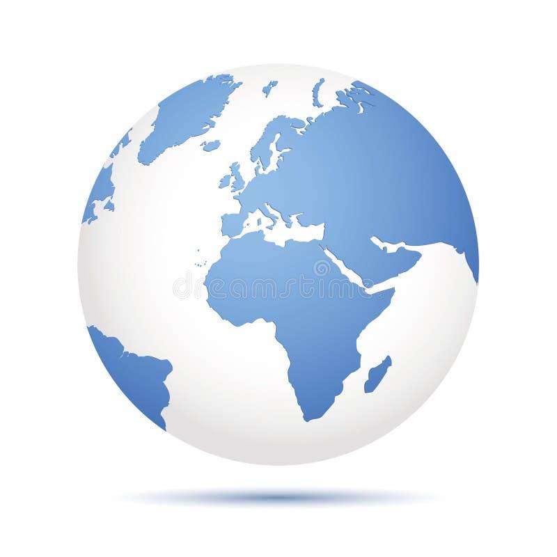 Ícone azul da terra isolado no fundo branco ilustração do vetor