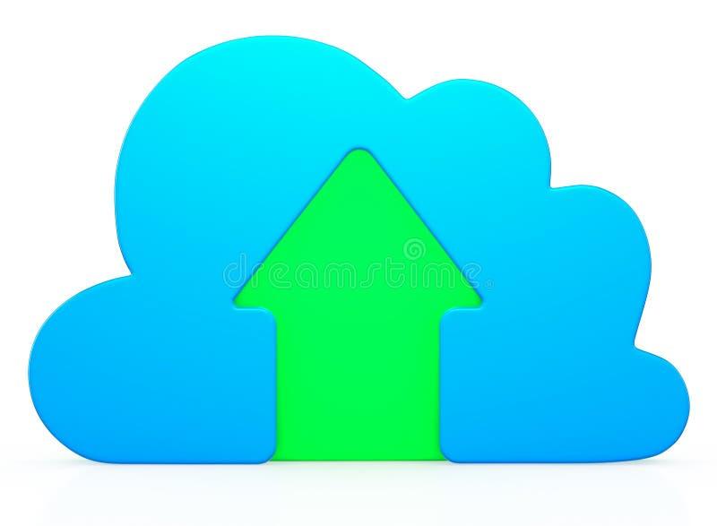 Ícone azul da transferência de arquivo pela rede da nuvem ilustração royalty free
