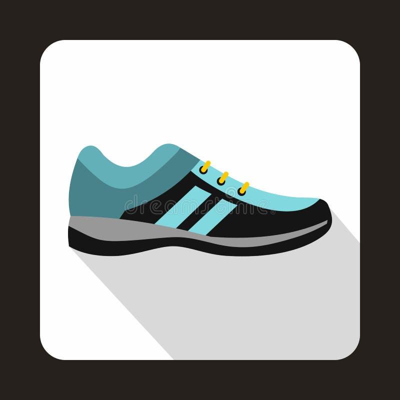 Ícone azul das sapatilhas no estilo liso ilustração do vetor