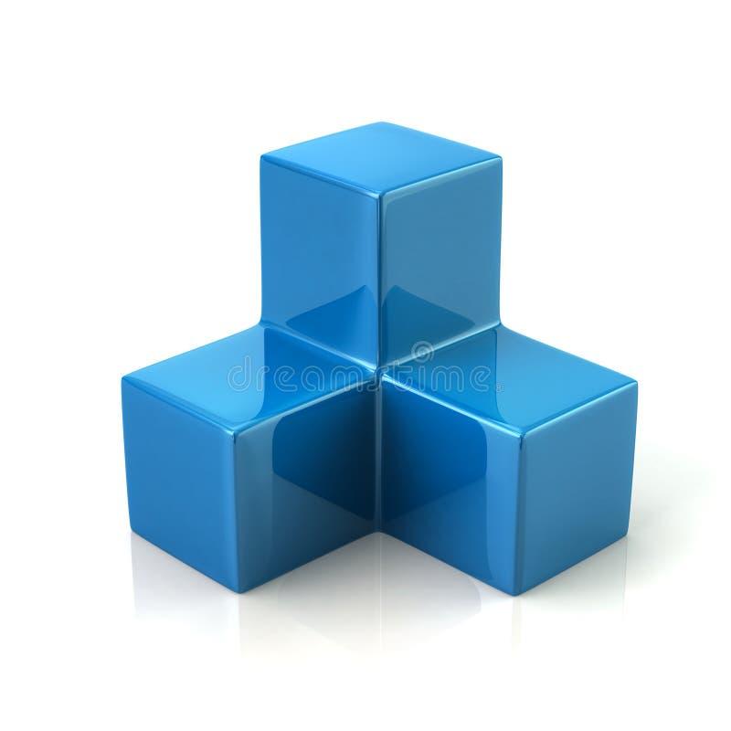 Ícone azul de três cubos ilustração royalty free