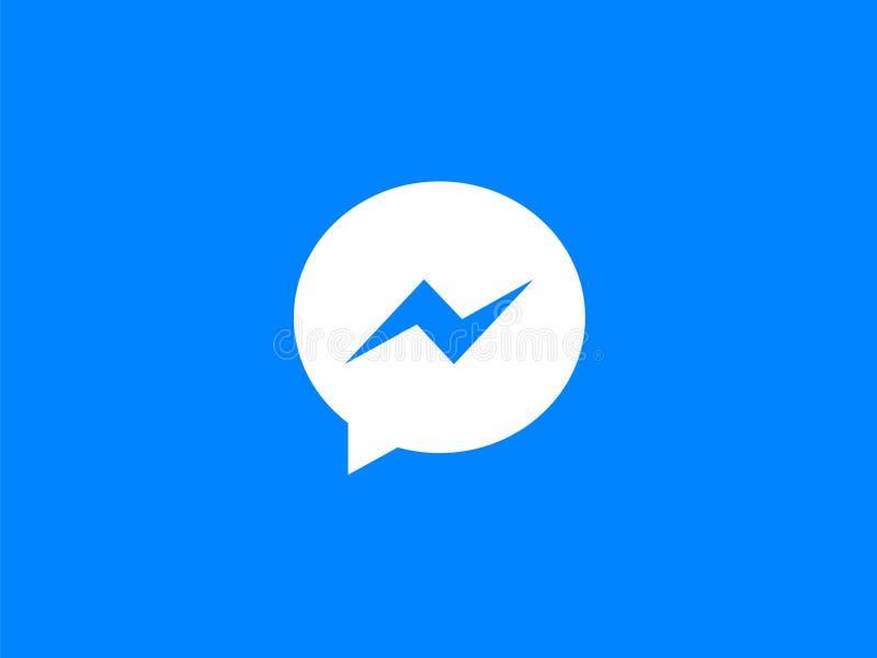 Ícone azul do app de Facebook Messenger ilustração stock
