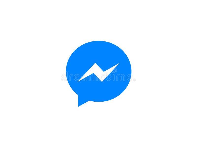 Ícone azul do app de Facebook Messenger ilustração royalty free