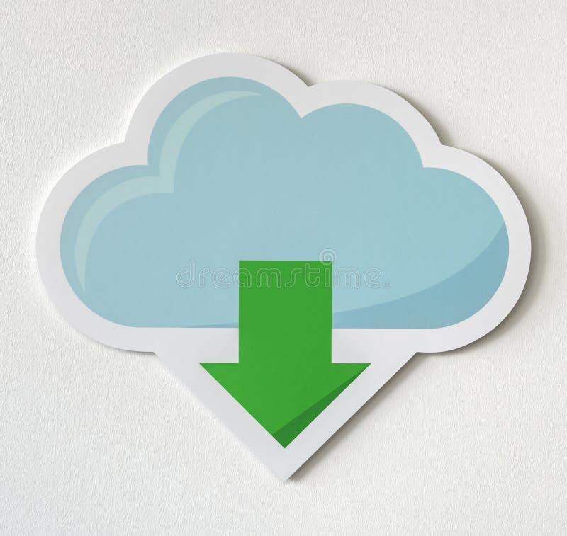 Ícone azul do armazenamento de dados do fazendo download da nuvem ilustração royalty free