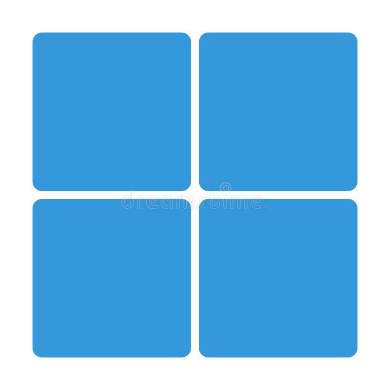 Ícone azul do bloco da janela isolado no fundo Sinal liso simples moderno Negócio, conceito do Internet ilustração do vetor