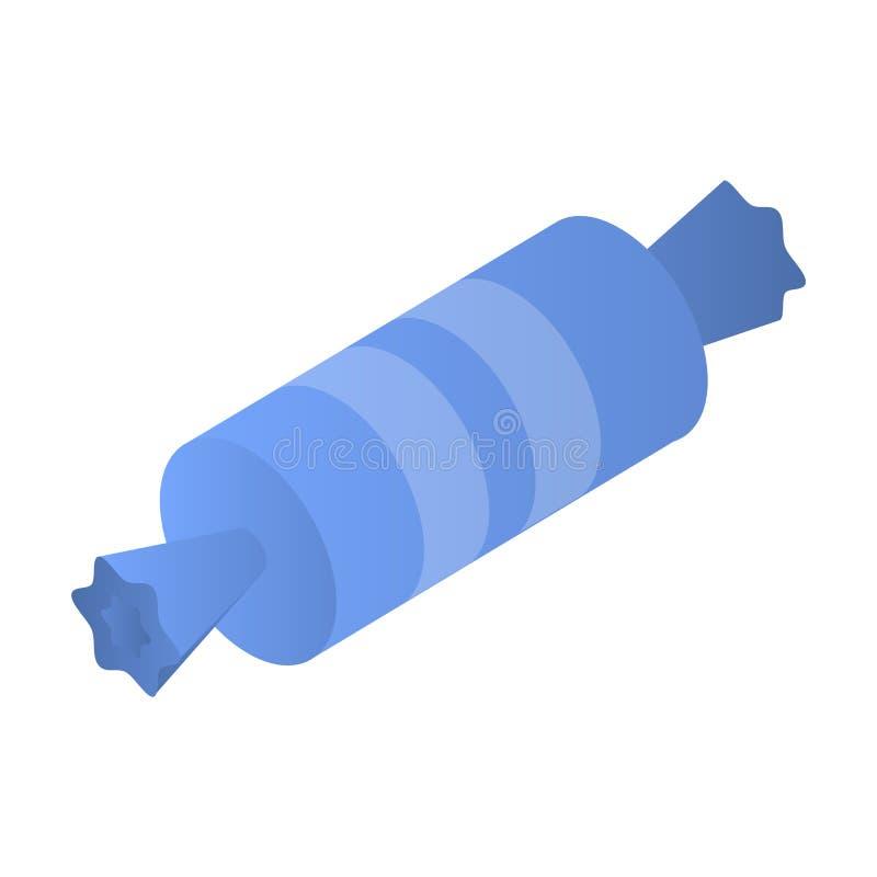 Ícone azul do bombom, estilo isométrico ilustração do vetor