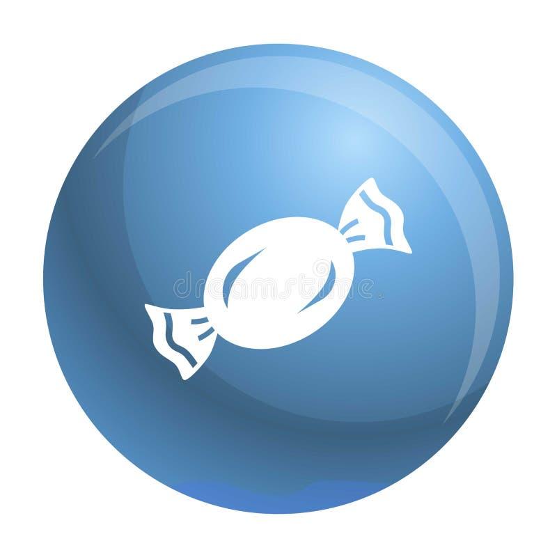 Ícone azul do bombom, estilo simples ilustração stock