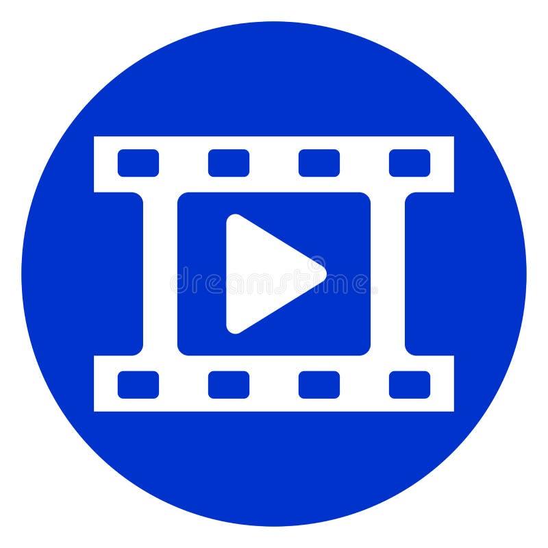 Ícone azul do círculo do filme ilustração do vetor