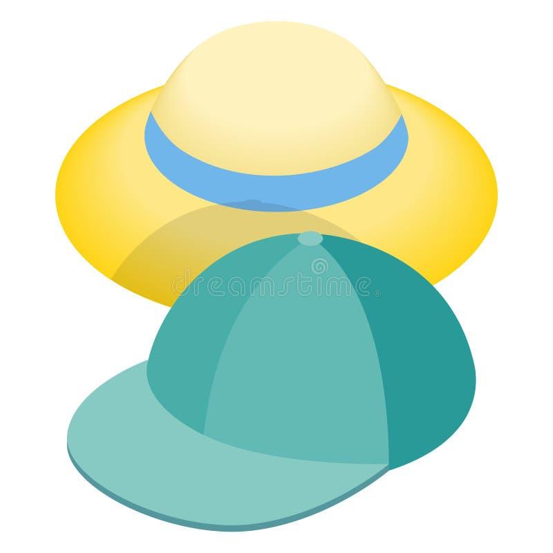 Ícone azul do chapéu do boné de beisebol e de palha ilustração do vetor
