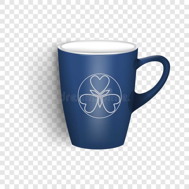 Ícone azul do copo, estilo realístico ilustração stock