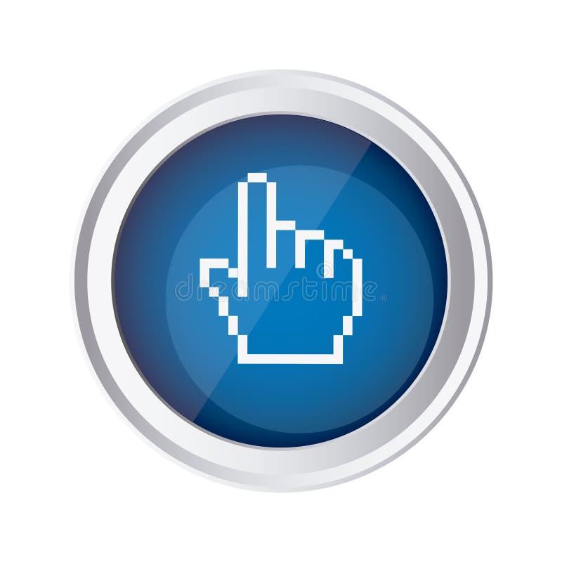ícone azul do cursor da mão do rato do emblema ilustração stock