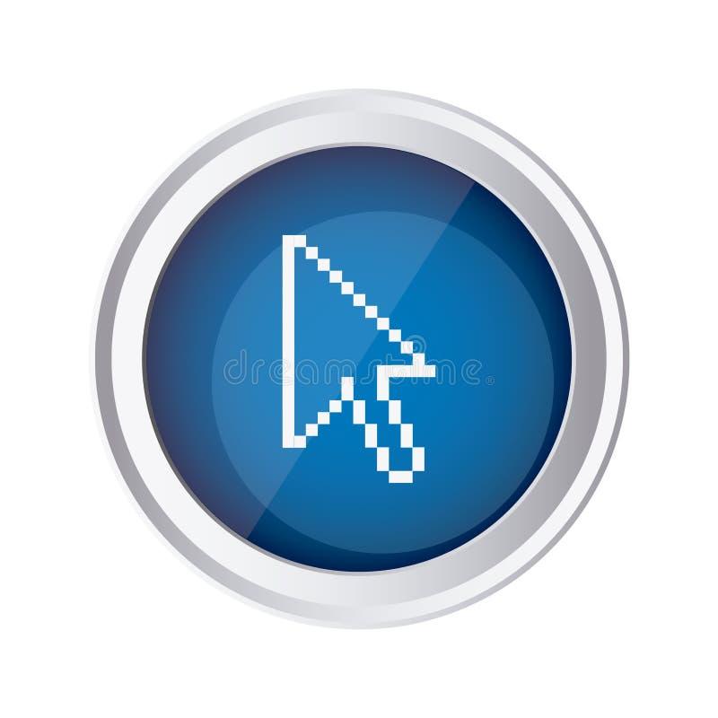 ícone azul do cursor do rato do emblema ilustração do vetor