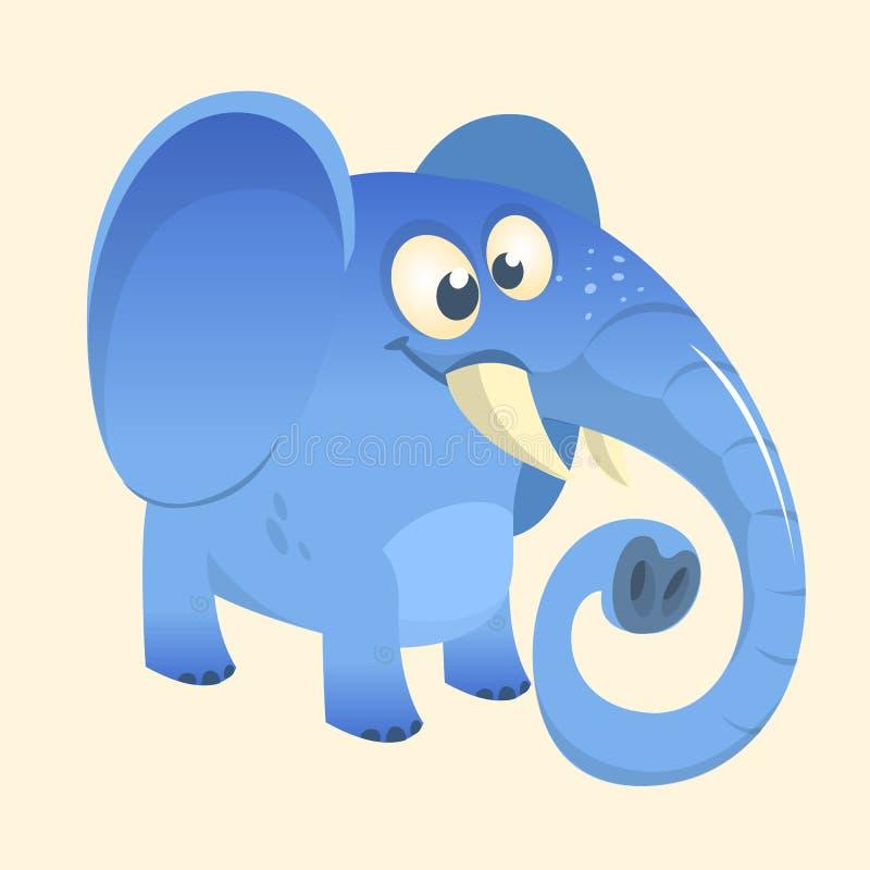 Ícone azul do elefante dos desenhos animados bonitos Ilustração do vetor com inclinações simples ilustração royalty free