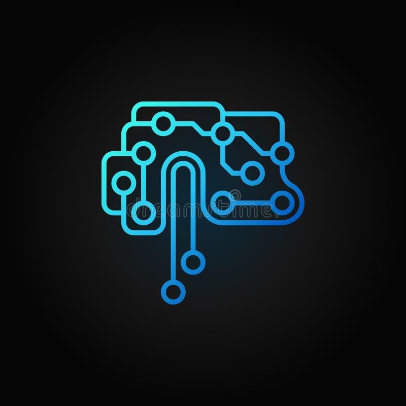 Ícone azul do esboço do vetor do cérebro da placa de circuito impresso ilustração stock