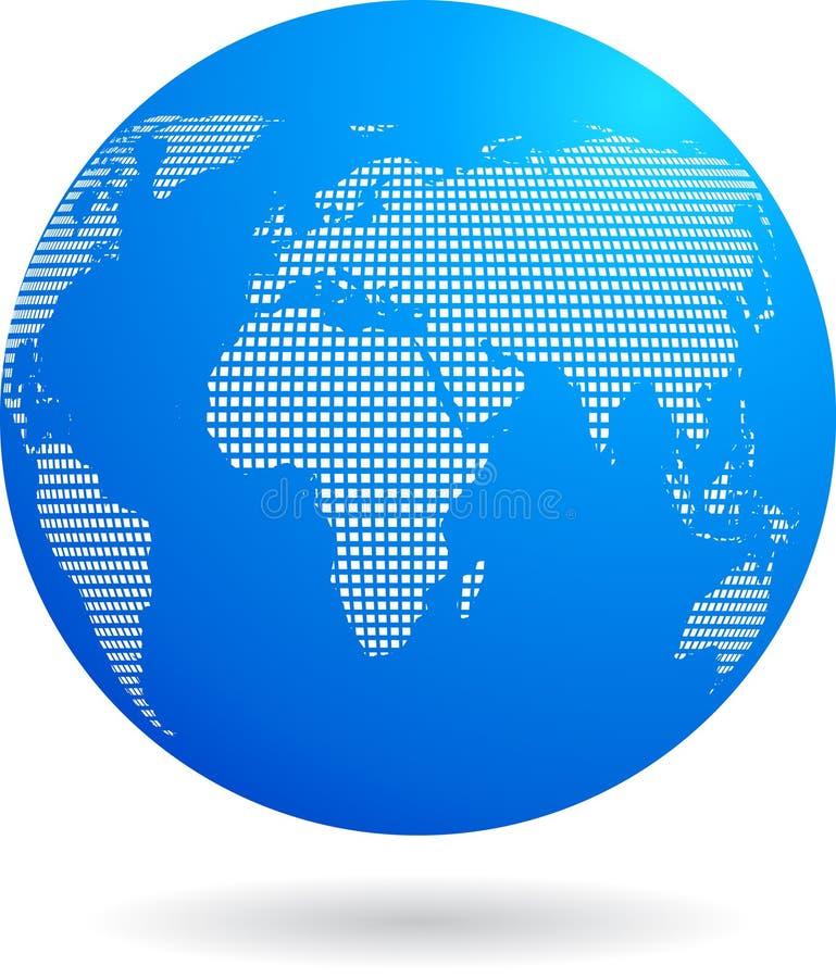Ícone azul do globo - tema da tecnologia ilustração do vetor
