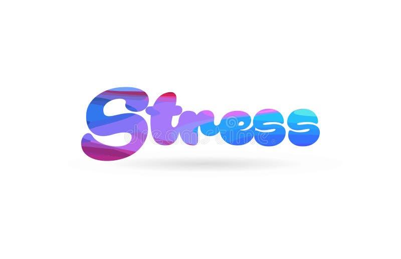 ícone azul do logotipo do texto da palavra da cor do rosa do esforço ilustração stock