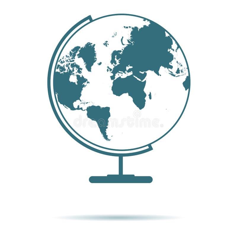 Ícone azul do mapa do globo isolado no fundo Sinal liso simples moderno da terra Mosca, conceito do Internet Tr ilustração do vetor