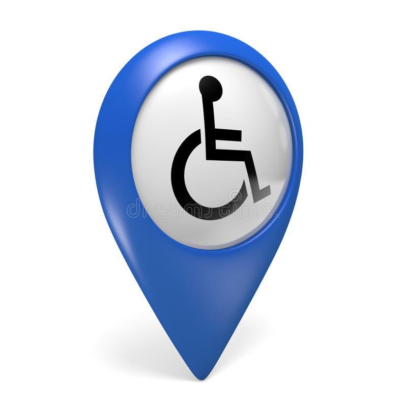 Ícone azul do ponteiro do mapa com um símbolo da cadeira de rodas para pessoas deficientes ilustração royalty free