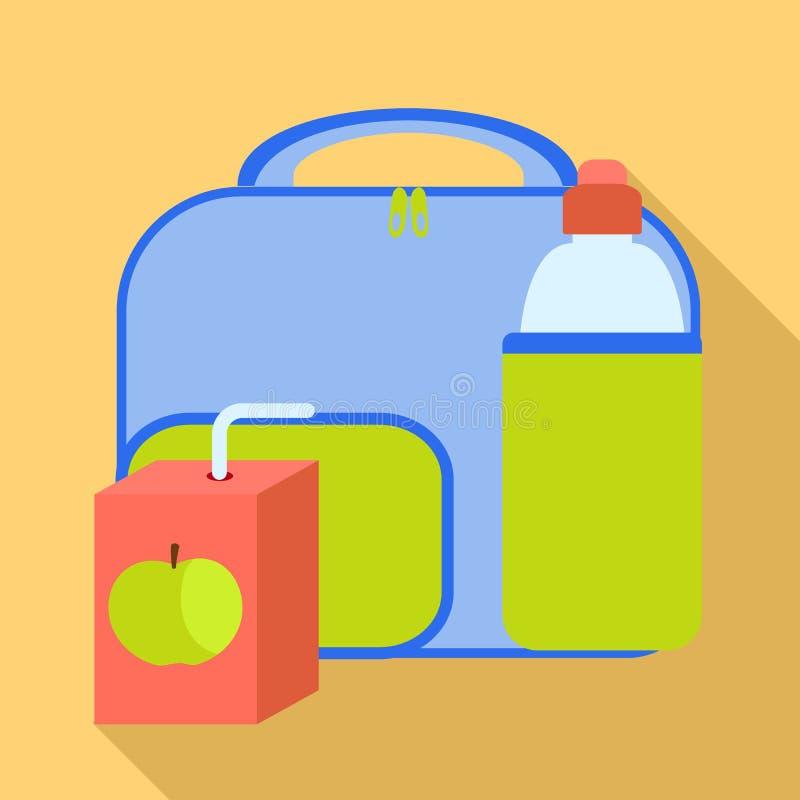 Ícone azul do saco do almoço, estilo liso ilustração do vetor