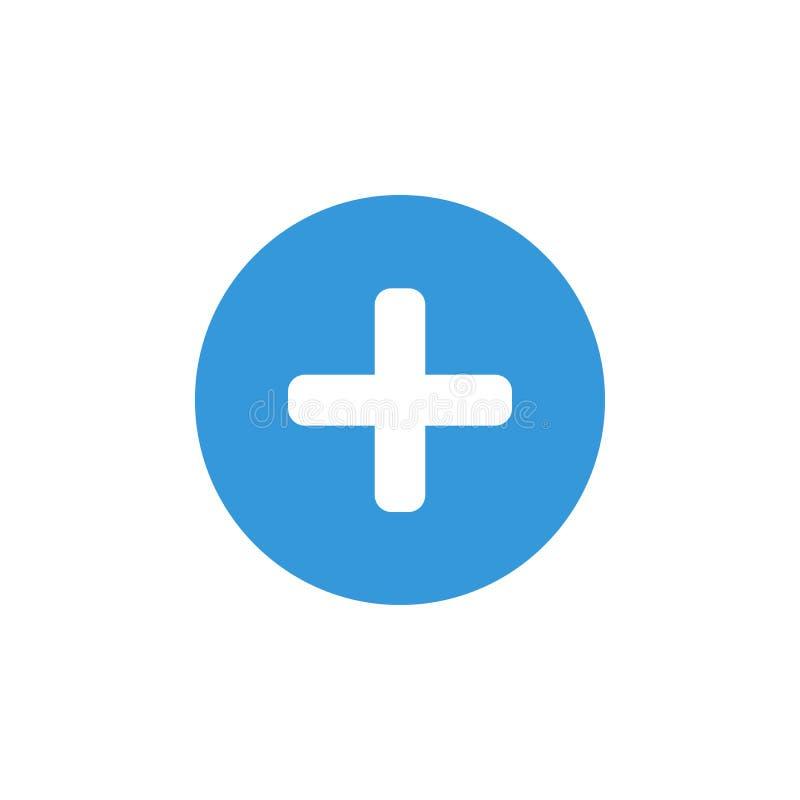 Ícone azul do sinal do sinal de adição e do símbolo positivo ilustração stock