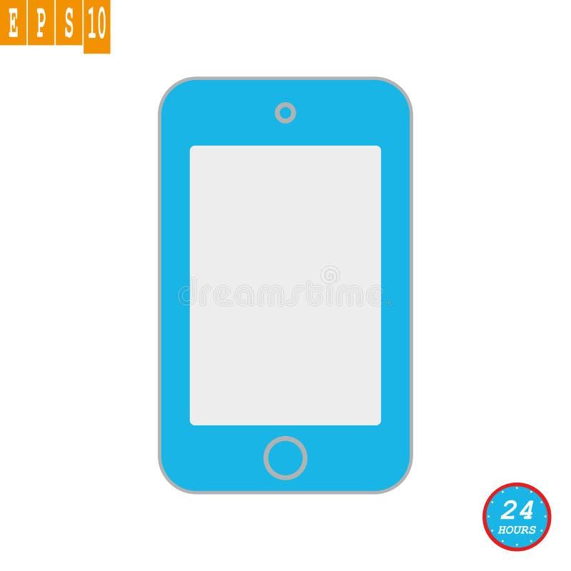 Ícone azul do telefone celular da vista dianteira com a tela vazia cinzenta Vetor azul eps10 do sinal da cor do telefone celular ilustração royalty free