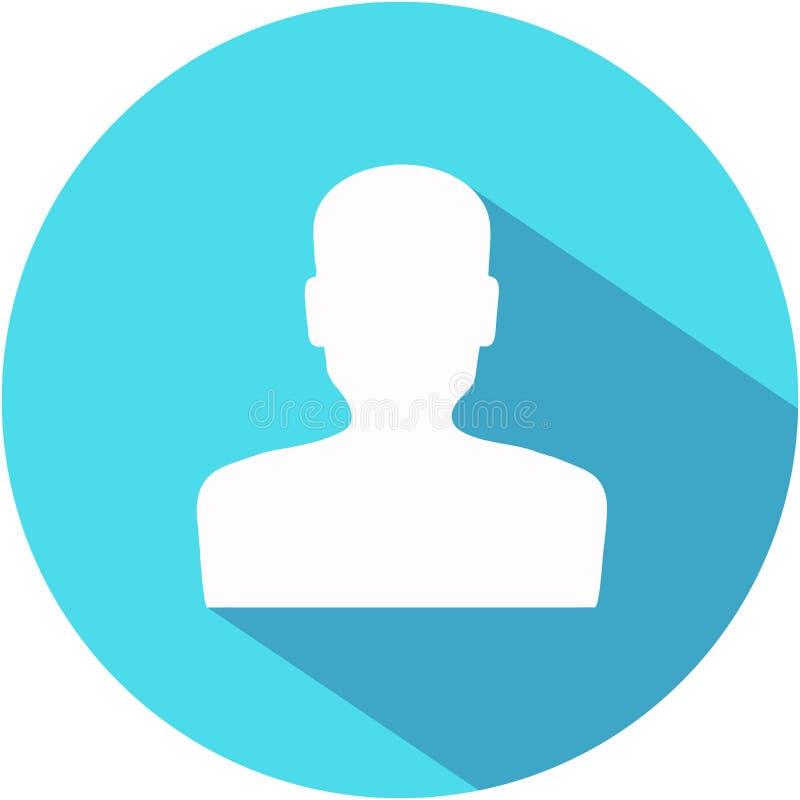 Ícone azul do usuário no estilo liso com sombra longa Botão da conta ilustração stock